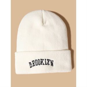 White Brooklyn Embroidery Knitted Beanie 🖤